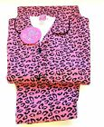 Girls Animal Print Leopard Print Winceyette Flannelette Pyjamas Set Sizes 7-13