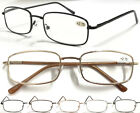 L38 Mens Square Shaped Metal Reading Glasses/Spring Hinges/Classic & Smart Look