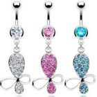 Butterfly Paved CZ Gem Belly Ring Navel Naval Clear, Pink, Aqua