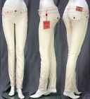 $180 NEW TRUE RELIGION JEANS JODIE MICRO CORDUROY CREAM SZ 24  25  28