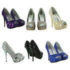 NEW LADIES HIGH HEEL STILETTO PLATFORM PARTY EVENING SHOES WOMENS SANDALS