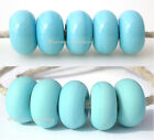 5 LIGHT TURQUOISE BLUE * donut handmade lampwork glass spacer beads TANERES sra