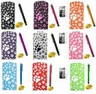 PAW PRINT LEATHER FLIP CASE COVER FOR MOBILE PHONES STYLUS & SCREEN PROTECTOR