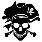 Pirate Black Skull and Crossbones Silhouette Wall Art Sticker Present Gift Man