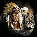 INDIAN, EAGLE AND WOLF -  T-Shirt - New - Sizes S - 4X (Men's Sizes)