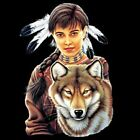 INDIAN MAIDEN AND WOLF -  T-Shirt - New - Sizes S - 4X (Men's Sizes)