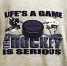 GAME ICE HOCKEY IS SERIOUS UNISEX KIDS GRAY T-SHIRT 10-12 OR 14-16