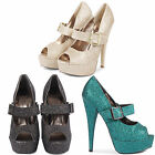 NEW LADIES STILETTO HIGH HEEL ANKLE STRAP PEEP TOE SEXY GLITTER EVENING SHOES UK