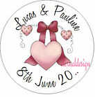 PERSONALISED WEDDING DAY PINK HEART & BOW STICKER SEAL GIFT FAVOUR INVITE WDSC27