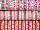 3 RED STRIPEs floral gingham vintage 100% COTTON FABRIC for dress craft bunting
