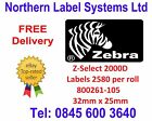 800261-105 - Direct Thermal Labels - 32mm x 25mm Z-Select 2000D 2580 per roll