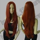 32 in. Long 80cm No-Bangs Dark Copper Red Big Wavy Cosplay Wig Free Shipping 72A