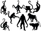 African Asian Monkies Monkey Silhouette Vinyl Wall Art Sticker Present Gift