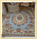 French Country Traditional Classic Floral Patterned Blue Area Carpet Rug J003