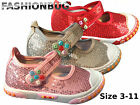 GIRLS CANVAS BEADED SEQUIN PUMPS casual glitter shoes infant kids
