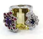 Solid 925 Sterling Silver Natural Green Quartz Ruby Iolite Amethyst Diamond Ring