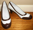 Reproduction 1940s Women White  Brown Spectator Pumps Shoes Sz 7 8 9 10