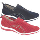 NEW BOULEVARD WOMENS LEISURE CASUAL SLIP ON SHOES INDOOR TRAINER NAVY RED SIZE