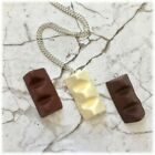 "Kitsch Polymer Clay Toblerone  S/Plated Chain Necklace 18""-3 colours"