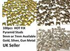 100 METAL HOT FIX PYRAMID STUDS stick on Embellishments, PUNK, GOTH, DIY FASHION