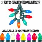 Novelty Light C7 Outdoor Patio Christmas Ceramic String Light Set-Green Wire-25'