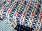 navy BLUE FLORAL stripe GINGHAM by meter 100% COTTON FABRIC dress craft bunting