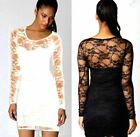 SEXY WOMEN LADIES BLACK FLORAL LACE LONG SLEEVE BODYCON DRESS TOP