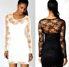 SEXY WOMEN LADIES BLACK FLORAL LACE INSERT LONG SLEEVE BODYCON DRESS TOP