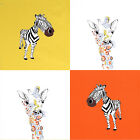 "COTTON BEDDING CURTAIN CUSHION CRAFT FABRIC GIRAFFE & ZEBRA PATCH 4 CUTS 44""X44"""