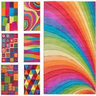Large Modern Bright Rainbow Colours Soft Thick Carved Medium Rug Mats Cheap Rugs