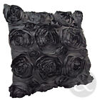 Satin Rose Cushions - Luxury Black Silver Scatter Faux Silk Floral Cushion Cover