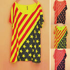 Womens New Stylish Batwing Sleeve T-shirt Stripes Star Casual Loose Tops Tee 1Hx