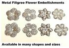 20pcs SILVER Filigree Metal Flowers Embellishments, Wedding craft