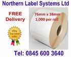 76mm x 38mm WHITE Direct Thermal Labels for BROTHER TD-4000 / TD-4100N