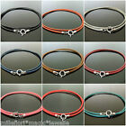 """1.5mm Leather & 925 Sterling Silver Necklace 16"""" (41cm) ~ Choose Your Colour"""