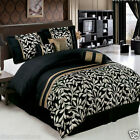 7pc Chandler Black  Luxury Bedding Set With Pillows Shams and Skirt Queen King