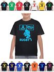 Kids Eat Sleep Rugby T Shirt pic with ball shirt kit shorts pads boots and all