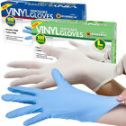 100 PC POWDERED / POWDER FREE VINYL BLUE DISPOSABLE GLOVES MULTI WORK FOOD CLEAR
