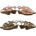 NEW LADIES COMFY LOW WEDGE HEEL ROPE DETAIL STRAPPY BUCKLE SANDALS SUMMER SHOES