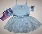 Nwt New Capezio Disney Princess Leotard Dress Cinderella Hologram Blue Cute Girl