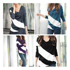 FL  New Arrival Korean Casual Batwing Long Sleeve T-shirt Stripe Tops & Blouses