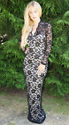 BLACK/NUDE CONTRAST SCALLOPED FLORAL LACE LONG SLEEVE MAXI DRESS SIZES 8-16