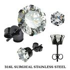 Black IP Plated 316L Surgical Stainless Steel Stud Earring with Round CZ