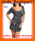 B15 NWT Ladies Black White Scoop Neck Short Sleeves Bodycon Stretch Print Dress