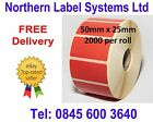 50mm x 25mm RED Direct Thermal Labels for Zebra, Citizen, Toshiba etc