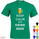 T-Shirt Keep Calm and drink Beer Uomo-Donna Bianca-Colorata Fronte-Retro