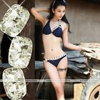 Women 2pcs Push Up Padded Swimwear Swimsuit Bikini Bathing Beachwear crystal