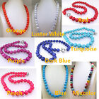 "Round Turquoise Necklace 10mm Knotted Choker Necklace 18"" Gemstone Bead Blue Red"