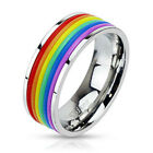 Colorful Stainless Steel Rainbow Rubber Striped Band Ring