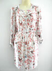NEW LADIES LONG IVORY PINK FLORAL TUNIC SHIRT TOP WOMENS UK 16 18 20 22-24 26-28